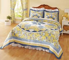 Yellow Comforter Twin Patchwork Quilted Bedspread French Star Blue Yellow This Beautiful