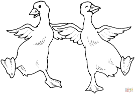 two goose dance coloring page free printable coloring pages