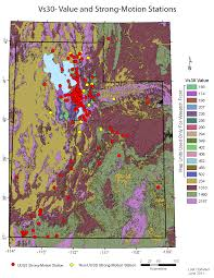 County Map Of Utah by Geological Site Conditions Average Shear Wave Velocity Maps U
