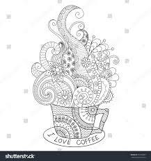 cup coffee zentangle design coloring stock vector 353759285