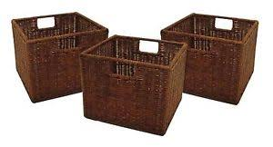 Storage Bin Shelves by Set Of 3 Storage Baskets Shelves Boxes Wicker Woven Rattan Small