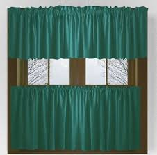 Cafe Style Curtains Teal Colored Café Style Curtain Includes 2 Valances And 2 Kitchen