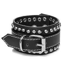 black leather cuff bracelet images Black wide genuine leather cuff bracelet with studs small jpg