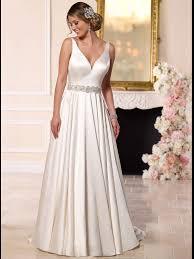 stella york 6222 v neck luxe satin a line wedding dress