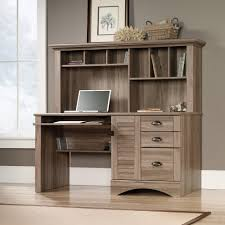 Computer Hutch Desk With Doors Amazon Com Sauder 415109 Salt Oak Finish Harbor View Computer