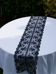 gold lace table runner small round wedding dining table with white fabric cover and black