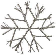 platinum glitter twig snowflake contemporary decorations