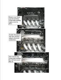 2005 toyota corolla spark plugs bernard s 2005 toyota corolla 1 8l spark removal