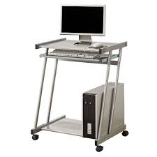 contemporary computer desk with keyboard tray and casters