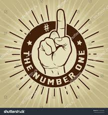 Number One Retro Vintage Number One Finger Seal Stock Vector 317642486