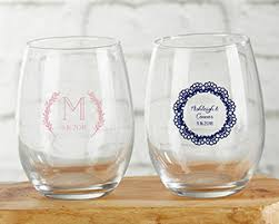 stemless wine glasses wedding favors personalized 9 oz stemless wine glass rustic charm wedding my