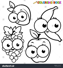 black white outline image fruit cartoons stock illustration