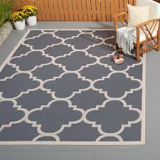 Safavieh Outdoor Rugs Safavieh Courtyard Quatrefoil Grey Beige Indoor Outdoor Rug