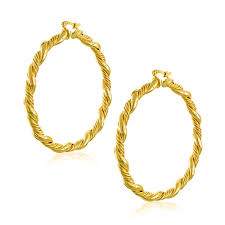 gold circle earrings gold filled braided cable hoop earrings