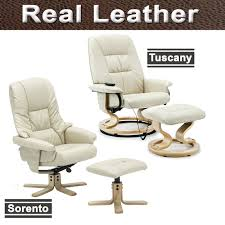 Swivel Recliner Armchair New Real Leather Swivel Recliner Chair W Foot Stool Armchair Home