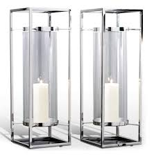 Threshold Candle Holder by Pair Adour Silver Glass Modern Square Tall Hurricane Candle