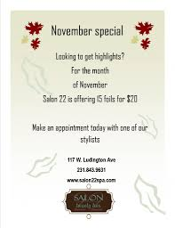 november hair highlight promotion salon 22