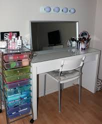 Lighted Vanity Table With Mirror And Bench Bedroom Creatively Hide Bedroom Storage With Nice Makeup Vanity