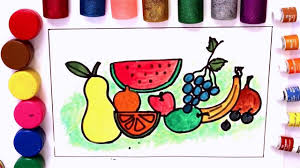 fruits coloring pages for kids apple watermelon banana grapes