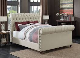 Tufted Headboard And Footboard Gresham Beige Woven Fabric Eastern King Bed W Scrolled Button