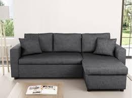 canape d angle en tissus canapé d angle réversible et convertible avec coffre en tissu gris