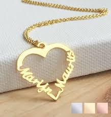 shaped necklace images Sieraden silver heart shaped necklace quot 2 names 39 jpg