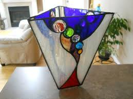 Stained Glass Vase Custom Stained Glass Vase With Glass Nuggets And Jewel By Chapman