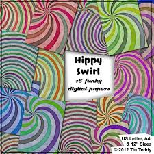 hippy swirls printable digital papers 16 1960s style funky