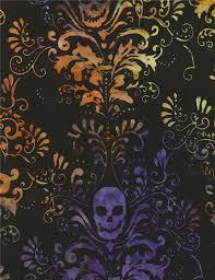 black batik skull leaf design fabric by timeless treasures
