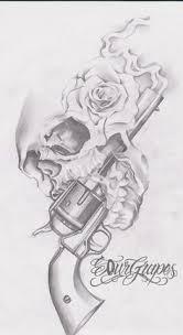 gun skull gun n roses design tattoos