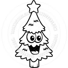 christmas tree smiling black and white line art by cory thoman