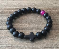 beaded bracelet with cross images Black onyx and pink agate beaded bracelet with stone cross grato jpg