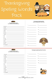 thanksgiving spelling words pack pink casa