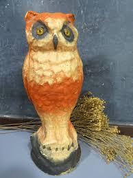 vintage halloween paper mache pulp owl with glass eyes vintage
