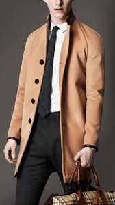 burberry leather trim wool cashmere coat in natural for men lyst