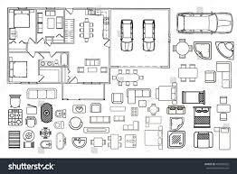 Floor Plans With Furniture Architecture Plan Furniture Top View Stock Vector 405000832