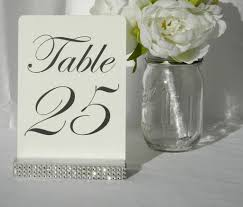 silver wedding table numbers silver wedding table number holder with a rhinestone wrap