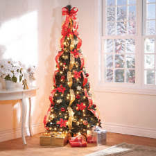 Fully Decorated Artificial Christmas Trees Holiday Lighted Pull Up Decorated Poinsettia Red Artificial