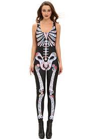 wholesale sugar skull womens halloween catsuit costume