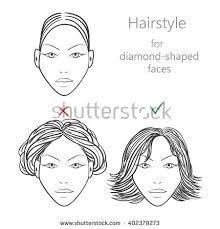 hairstyles for diamond shaped face option hairstyle diamondshaped face yes no stock illustration