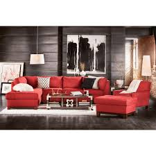 soho 2 piece sectional with left facing chaise red american
