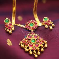 kempu earrings indian traditional jewelry temple kempu pearl attigai back