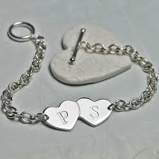 Bracelet With Initials Personalised Silver Love Hearts Bracelet Indivijewels