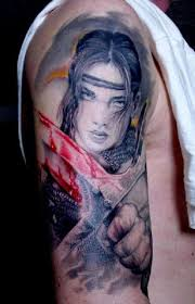 wonderful young woman warrior with bloody sword tattoo tattoos