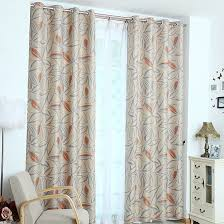 Insulate Patio Door Leaf Print Polyester Insulated Patio Door Privacy Curtains
