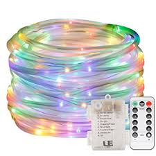 le 33ft 120 led dimmable rope lights rgb battery