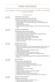Resume Of Nursing Assistant Certified Nursing Assistant Resume Samples Visualcv Resume