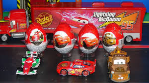 pixar cars 4 kinder surprise eggs delivered by mack to radiator