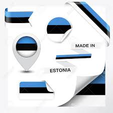 Estonian Flag Made In Estonia Collection Of Ribbon Label Stickers Pointer