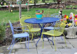 green metal outdoor table furniture foxy image of outdoor dining room decoration using round